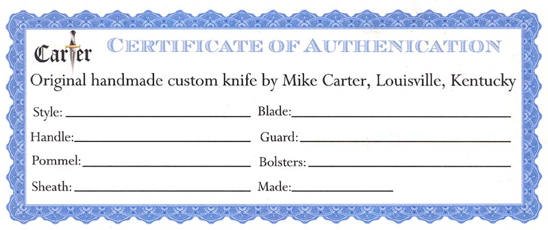 Certificate of authenticity knifedogs forums i do not include the price on the certificate i keep them on hand to fill out when requested and i normally include one with higher priced knives yelopaper Gallery